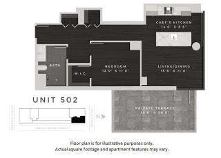 Unit 502 Floor Plan at 640 North Wells, Chicago, IL