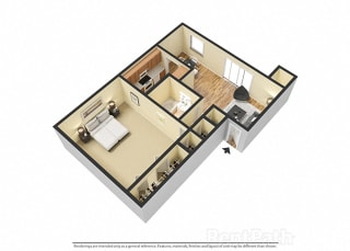 1 BR, 1 Bath Floor Plan 3D View at Pickwick Farms Apartments, Indianapolis, IN