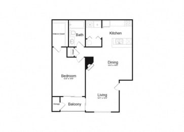 A One Bed And One Bath Floorplan at Alvista Trailside Apartments, Englewood