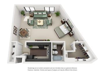 one bedroom apartment floor plan overview