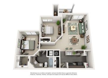 1000 Spalding Apartment Homes - 2 Bedroom 1 Bath Apartment