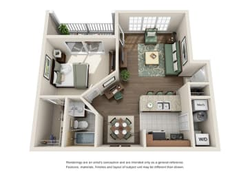 Saxony Floor plan - 1 Bedroom 1 Bath - Green Trails Apartment Homes Lisle, IL