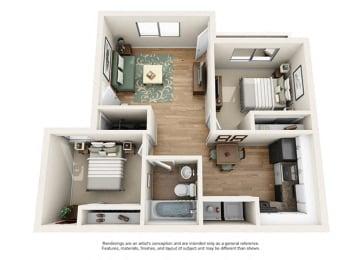 Heritage Pointe Apartment Homes  2 Bedroom 1 Bath Apartment