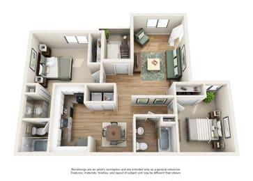 Heritage Pointe Apartment Homes  2 Bedroom 2 Bath Apartment