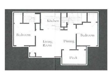 2 Bed, 2 Bath Floorplan