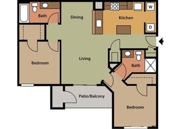 2 Bedroom, 2 Bath, Floorplan
