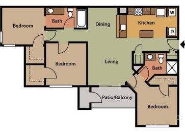 3 Bedroom, 2 Bath, Floorplan
