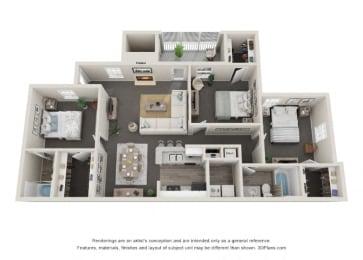Three Bedroom at Litchfield Oaks Apartments at Litchfield Oaks Apartments, Pawleys Island, SC