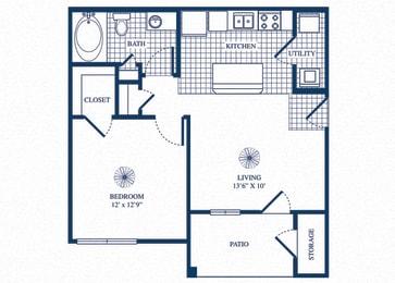 Floor Plan  A1 floorplan at Tivoli Apartments in Dallas, Texas