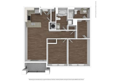 2 Bedroom 2 Bathroom Floor Plan at The Ivy at Berlin Place, South Bend, Indiana