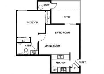 Floor Plan  A1 floor plan at Hilltop Commons Apartments in San Pablo, CA
