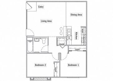 2 bedroom floor plan l Las Casitas Apartments in Hisperia Ca