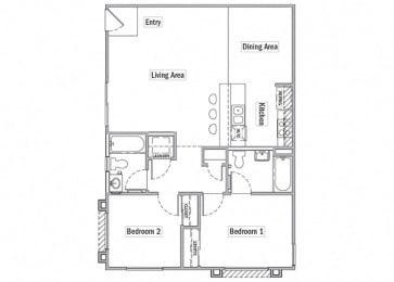 two bedroom floor plan l Las Casitas Apartments in Hisperia Ca