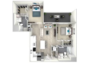 Two Bed Two Bath with Large Patio 1099 Floor Plan at Nightingale, Providence, 02903