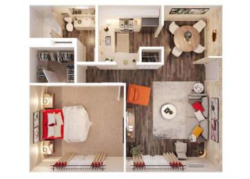 Monroe floor plan 720sqft