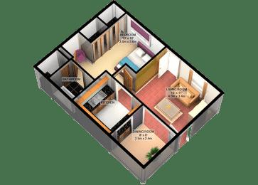 A1 One Bedroom One Bathroom FloorPlan at Carelton Courtyard, Galveston, 77550