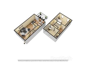 Two Bedroom Town 3D Floor Plan at Walnut Creek Apartments, Kokomo, IN, 46902