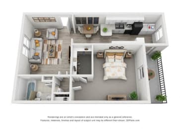One Bed One Bath Allister 1-1 Large Floor Plan at Shellbrook, Raleigh, 27609