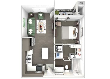 Enclave at Cherry Creek A1 1 bedroom floor plan 3D