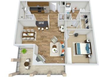 A3 1 Bedroom 1 Bath 3D Floor Plan at Rose Heights Apartments, North Carolina, 27613