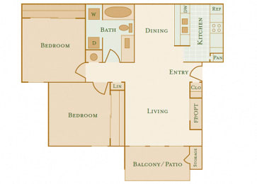 East Chase Apartments - B1 - 2 bedrooms and 1 bath