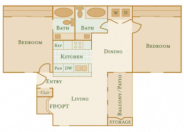 East Chase Apartments - B2 - 2 bedrooms and 2 bath