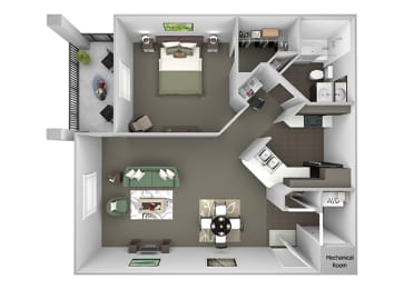 The Crossings at Alexander Place - A1 - Abby - 1 bedroom - 1 bath - 3D