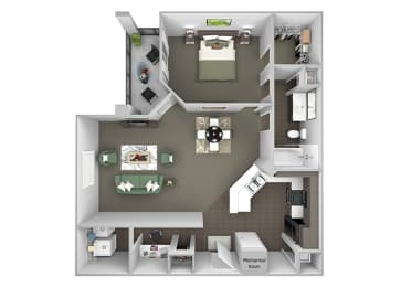 The Crossings at Alexander Place - A2 - Ashley - 1 bedroom - 1 bath - 3D
