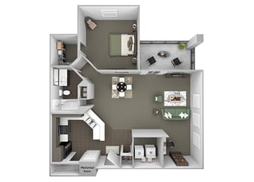The Crossings at Alexander Place - A3 - Addison - 1 bedroom - 1 bath - 3D
