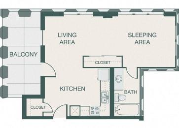 The Kirby - A3 - Penthouse 8 - Studio - 1 bath