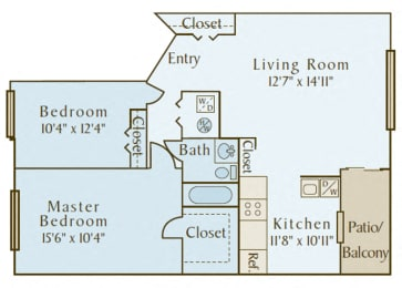 Covey at Fox Valley - B1 (The Sanctuary) - 2 bedroom and 1 bath