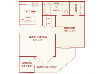 Brentwood Oaks - A1 - 1 bedroom and 1 bath