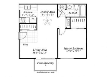 Floor Plan  One bedroom one bathroom A1 floor plan at Brentwood Apartment Homes in Manassas, VA