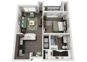 A1 Everlee 3D 1 bedroom floor plan