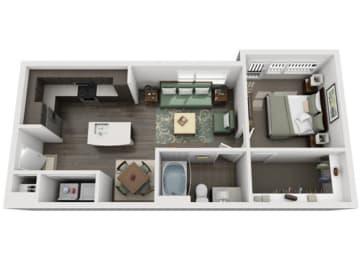 A2 Everlee 3D 1 bedroom floor plan