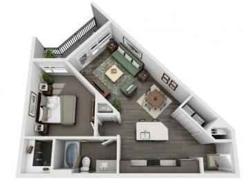 A3 Everlee 3D 1 bedroom floor plan