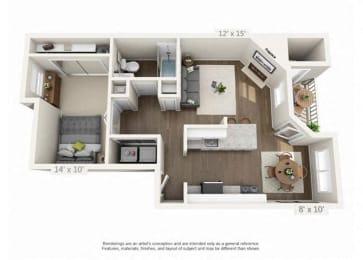 1 Bed 1 Bath Floor Plan at Heatherbrae Commons, Milwaukie, OR