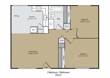 2 Bed 1 Bath Floor Plan at Barcelona Apartments, Visalia