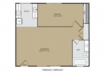 1 Bedroom 1 Bath Floor Plan at Casa Del Rio Apartments, Fresno, CA