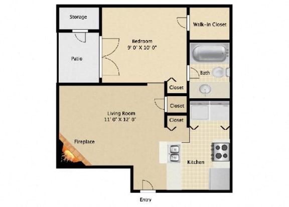 Floor Plan  ONE BEDROOM STUDIO