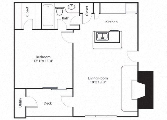 Floor Plan  aspen 1 bed 1 bed - 1 bath floor plan
