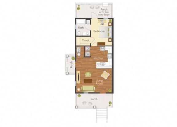 Floor Plan  1 Bedroom 1 Bath-2D Floorplan-Marrero Commons Apartments, New Orleans, LA