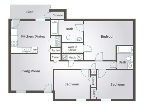 Floor Plan  THE BAYBERRY FloorPlan at Springwood Townhomes Apartments, Florida, 32303