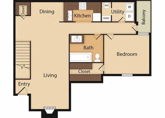 Floor Plan  1 Bed 1 Bath Aspen Floor Plan at Ridgeland Place Apartment Homes, Ridgeland, MS, 39157