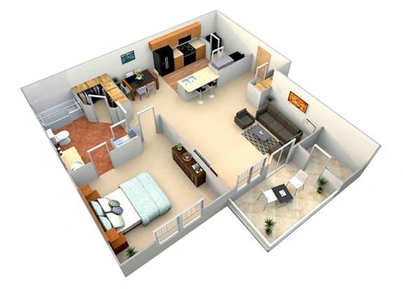 Floor Plan  aspen 1 bed 1 bath 700 sf floor plan