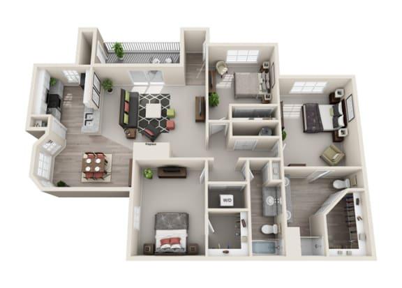 Floor Plan  Cottonwood Three Bedroom and Two Bathroom Floorplan