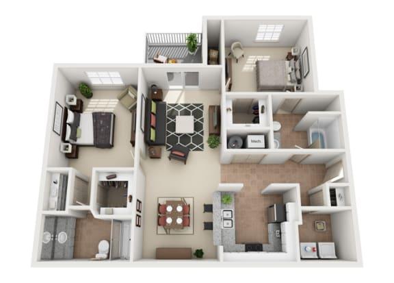 Floor Plan  Evergreen Two Bedroom And Two Bathroom Floorplan