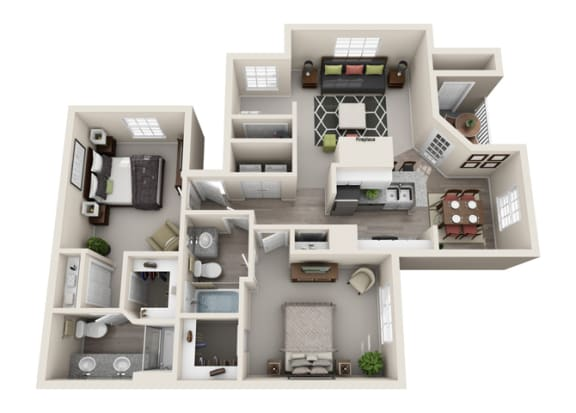 Floor Plan  Sage Two Bedroom and Two Bathroom Floorplan