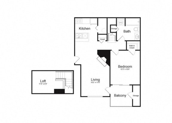 Floor Plan  B One Bed And One Bath Floorplan at Alvista Trailside Apartments, Colorado