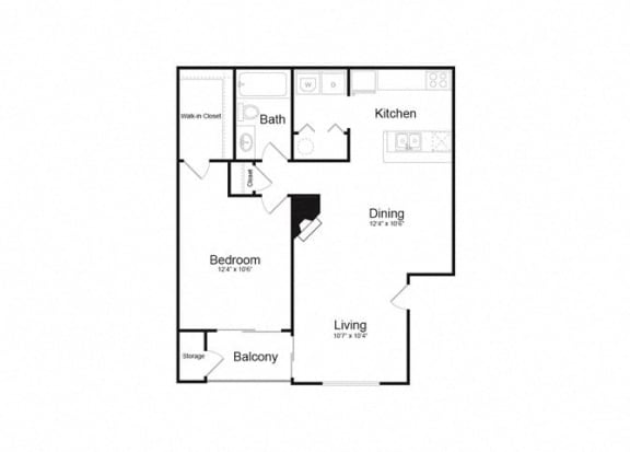 Floor Plan  A One Bed And One Bath Floorplan at Alvista Trailside Apartments, Englewood